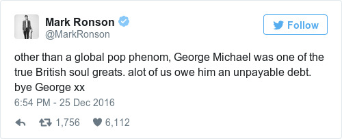 Tweet by @Mark Ronson