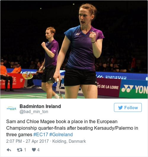 Tweet by @Badminton Ireland
