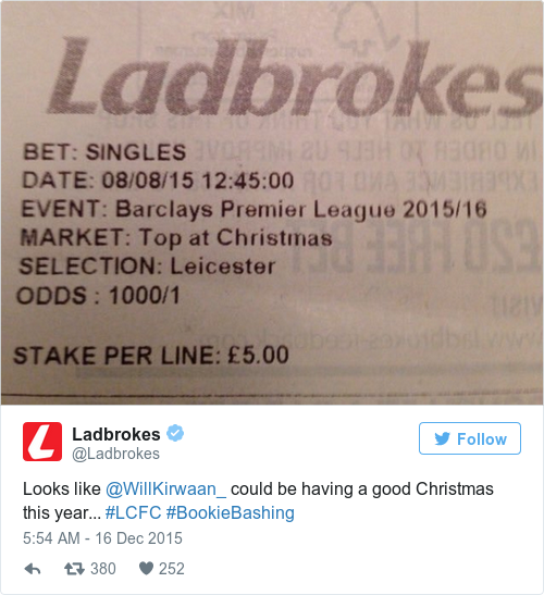 Tweet by @Ladbrokes