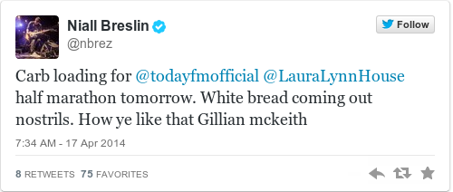 Tweet by @Niall Breslin
