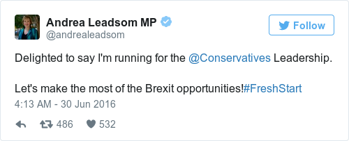 Tweet by @Andrea Leadsom MP