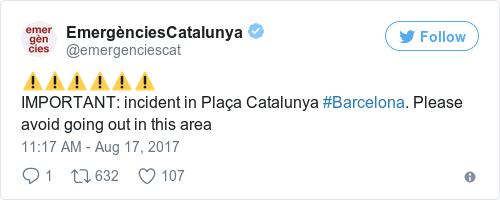 Tweet by @EmergènciesCatalunya