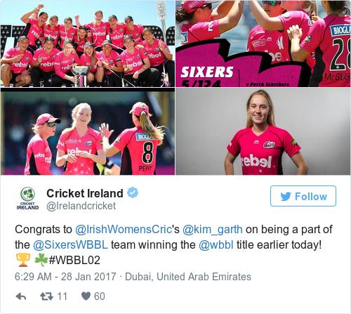 Tweet by @Cricket Ireland