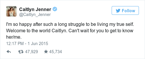 Tweet by @Caitlyn Jenner