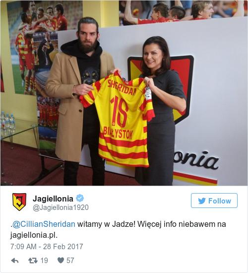 Tweet by @Jagiellonia
