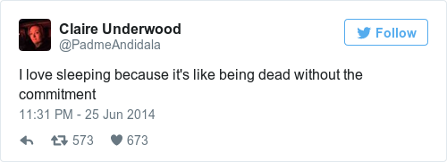 Tweet by @Claire Underwood