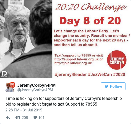 Tweet by @JeremyCorbyn4PM