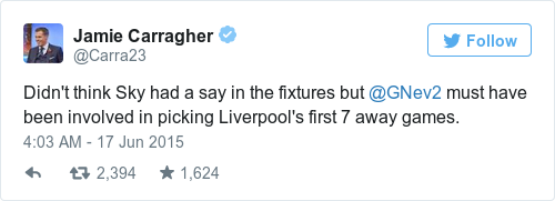 Tweet by @Jamie Carragher
