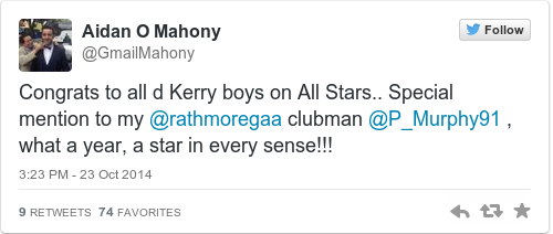 Tweet by @Aidan O Mahony