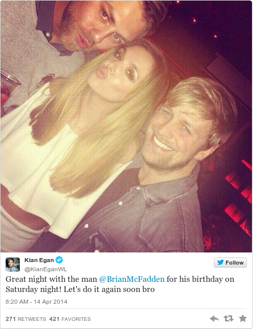 Tweet by @Kian Egan