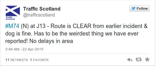 Tweet by @Traffic Scotland
