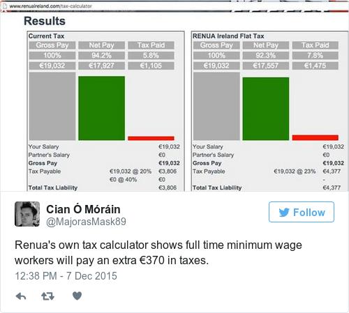 renua says flat tax calculator taken down over  u0026 39 technical issues u0026 39
