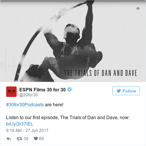 Tweet by @ESPN Films 30 for 30