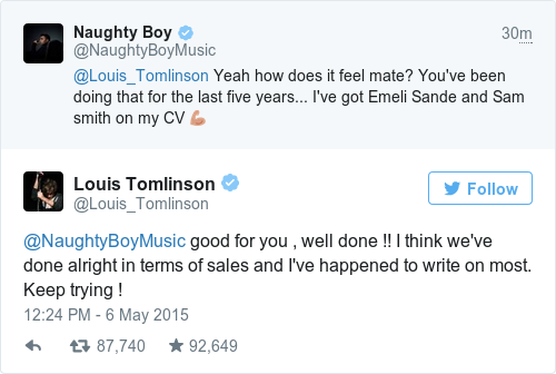 Tweet by @Louis Tomlinson