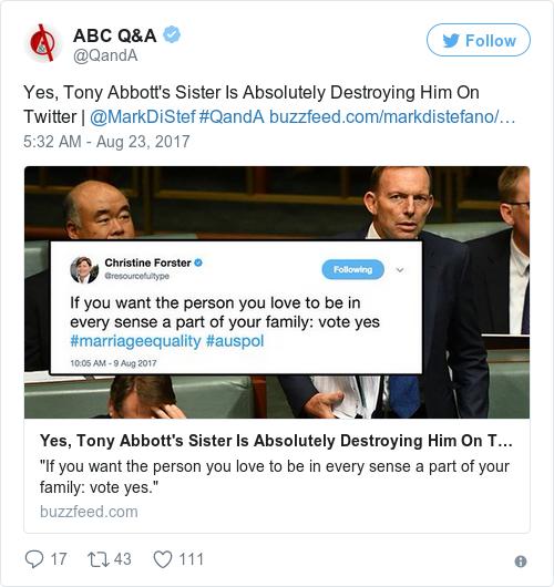 Tweet by @ABC Q&A