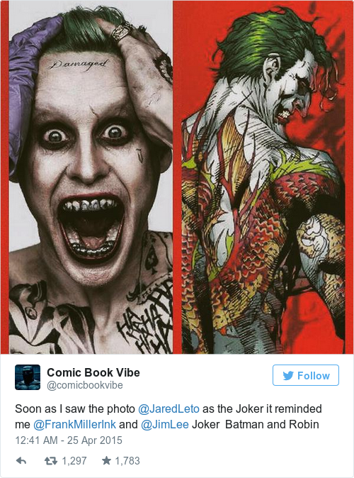 Jared leto 39 s joker has been revealed and people think he for Joker damaged tattoo