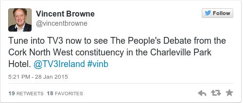Tweet by @Vincent Browne