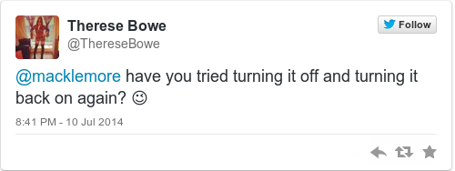 Tweet by @Therese Bowe