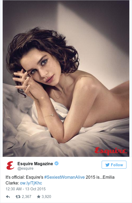 Tweet by @Esquire Magazine