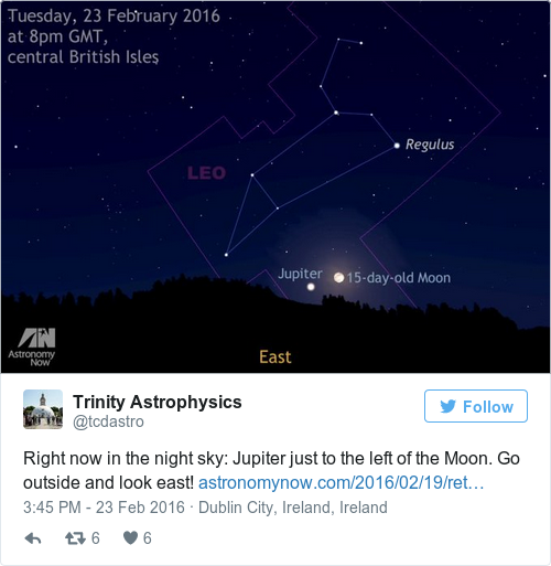 Look Up Jupiter Is Visible Beside The Moon Tonight