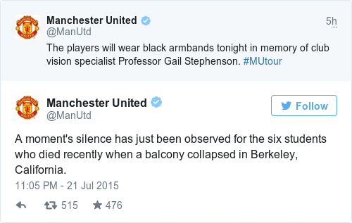 Tweet by @Manchester United