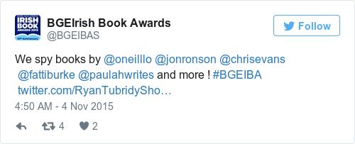 Tweet by @BGEIrish Book Awards