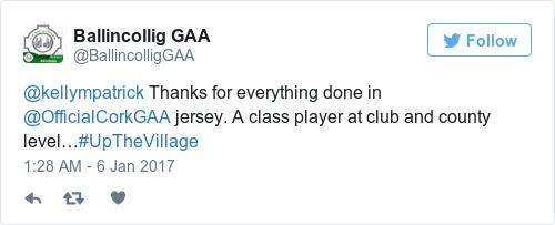 Tweet by @Ballincollig GAA