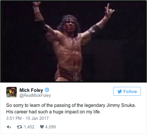 Tweet by @Mick Foley