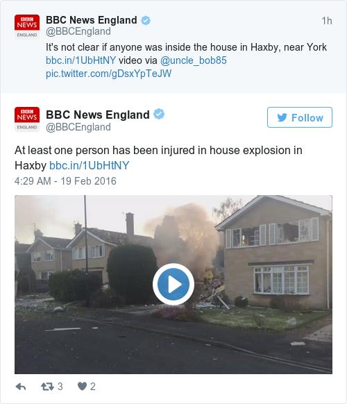 Tweet by @BBC News England