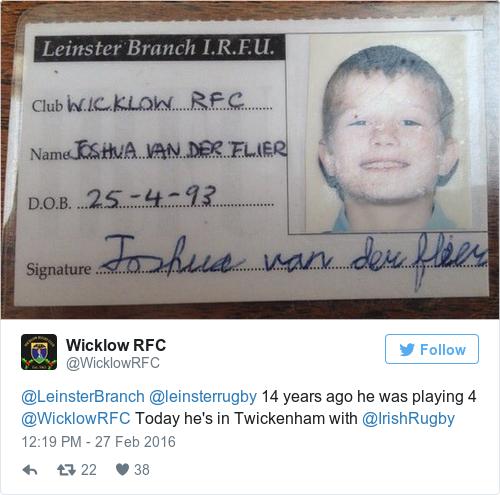 Tweet by @Wicklow RFC