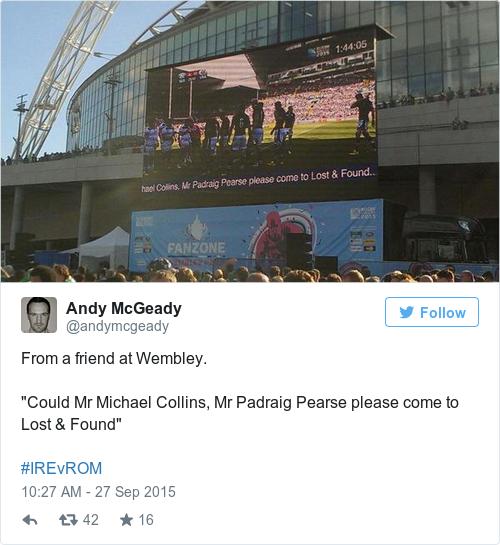 Tweet by @Andy McGeady
