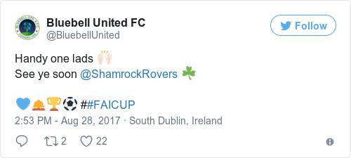 Tweet by @Bluebell United FC