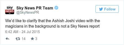 Tweet by @Sky News PR Team