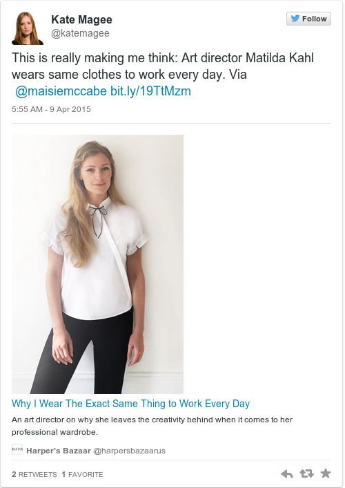 This woman has worn the same outfit to work every day for the past three years