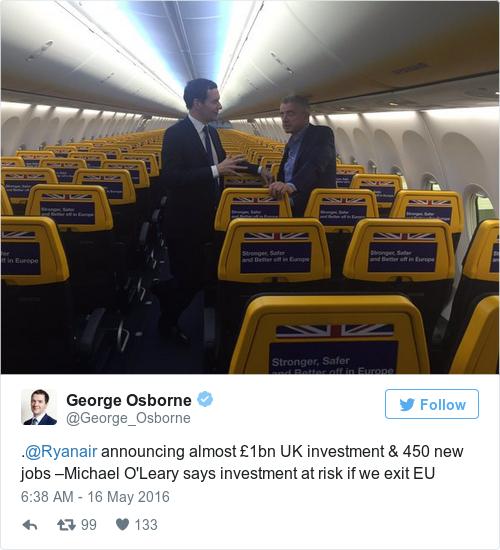 Tweet by @George Osborne