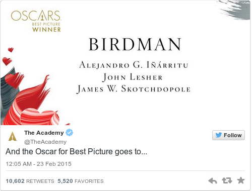 Tweet by @The Academy