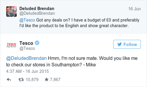 Tweet by @Tesco