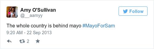 Tweet by @Amy O'Sullivan