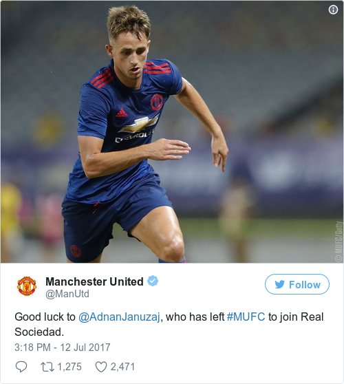 Adnan Januzaj close to signing for Real Sociedad from Man United