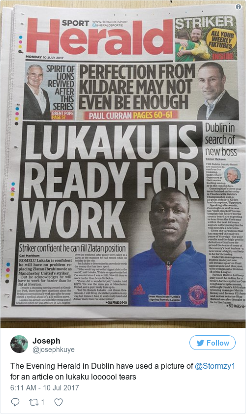 The Herold the herald accidentally used a photo of stormzy instead of lukaku in