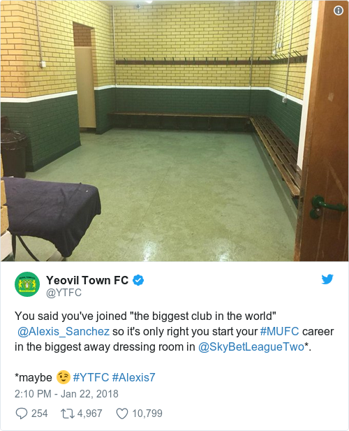 Tweet by @Yeovil Town FC