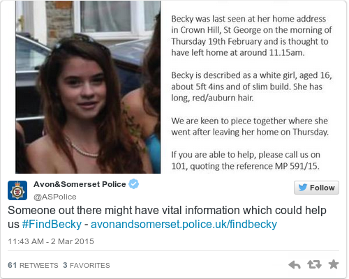 Tweet by @Avon&Somerset Police