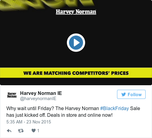 Tweet by @Harvey Norman IE