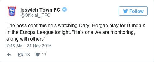 Tweet by @Ipswich Town FC