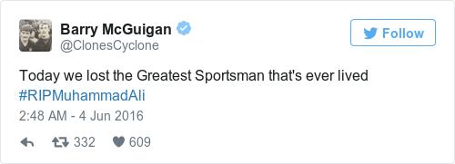 Tweet by @Barry McGuigan