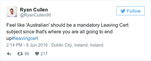 This comedian is putting the fear of god into leaving cert students feel like australian should be a mandatory leaving cert subject since thats where you are all going to end upleavingcert ccuart Image collections