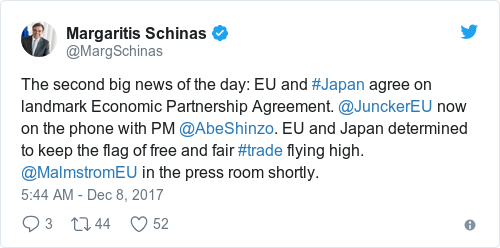 The second big news of the day: EU and #Japan agree on landmark Economic  Partnership Agreement. @JunckerEU now on the phone with PM @AbeShinzo.