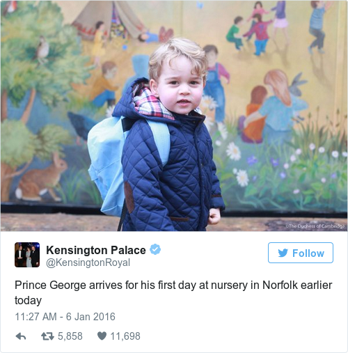 Tweet by @Kensington Palace