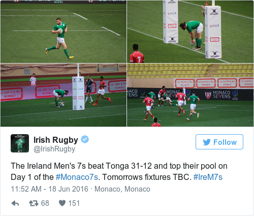 Tweet by @Irish Rugby