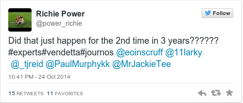 Tweet by @Richie Power